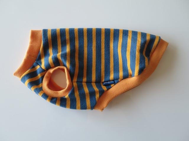 画像1: 裏起毛ボーダー(スモークブルー×マスタード)